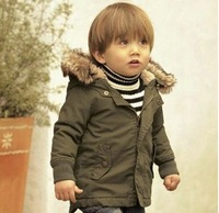 boy the winter hooded coat top children quality wadded jacket parkas baby clothing retail and wholsale Free Shipping YCZ020