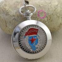 Russian Vingtage silver Soviet BOLSHEVIK Mechanical FOB Pocket Watch Men Pendant Watches ancient retro red star flag roman hour