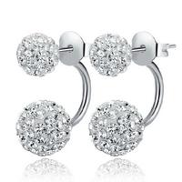 Hot Sell 925 Sterling Silver Jewelry Fashion Women Shambhala CZ Diamond Double Ball Stud Earrings Wholesale