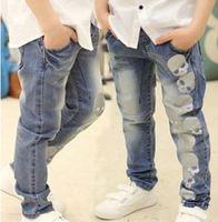 1 pcs kid's trousers Skull design Boy's jeans top quality children denim pants casual pants freeshipping YCZ045