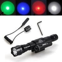 Free Shipping Ultrafire 501D 1200 Lumens CREE XM-L T6 LED Flashlight Torch Red Laser Mount Waterproof Hunting gun flashlight