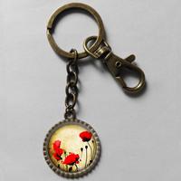 Wholesale 6$ Poppy flower Keyring Key Chain Art Glass Pendant Cute Keychain Gift Vintage lot freeshipping