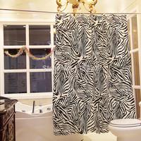 1.8m*1.8m Black zebra print waterproof bathroom small curtain shower curtain free shipping