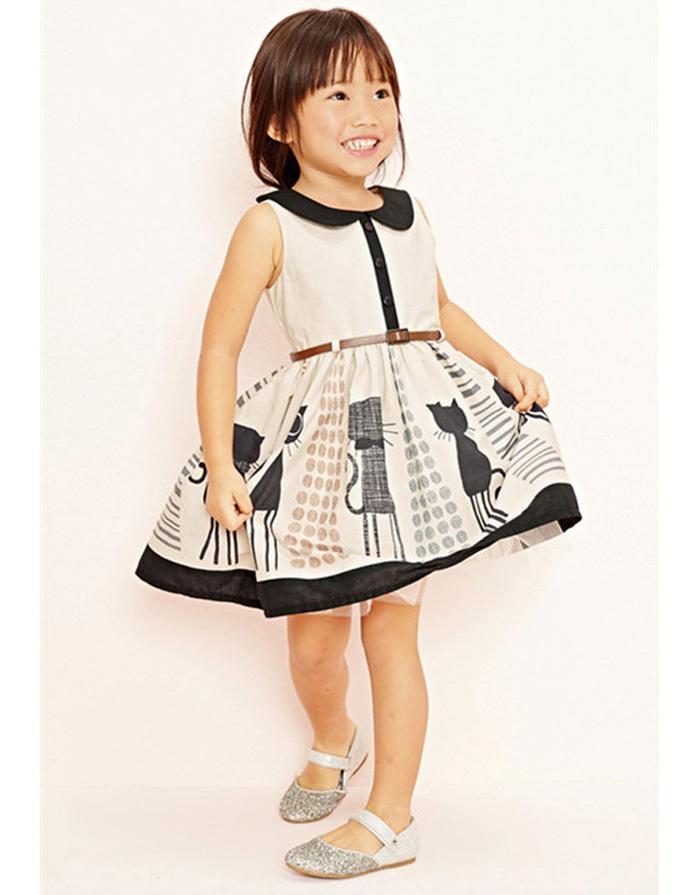 little toddler baby girls dress Kid Clothing customes Children Wear dresses for Girl cat belt deguisement vetement enfant fille(China (Mainland))