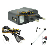 EU Power Adapter Mobile Phone Charger Travel Charger+USB Data Cable+ Stylus For Lenovo P90 S660 A880 A859 S930 S650A328 S850