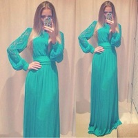 2015 New Spring Ladies Plus Size Long Sleeve Hallow Green Lace Dresses Vestidos Femininos Casual Dress Sexy Party Club Dress