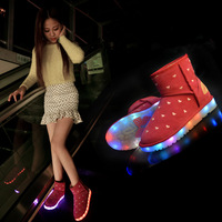Autumn and winter light shoes women's shoes usb charge led snow boots female boots plus velvet fashion shoes,free shpping