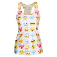 Women Fashion Summer Women Camisoles Emoji Tank Top Face 3D Printed Tops Cheap Clothes