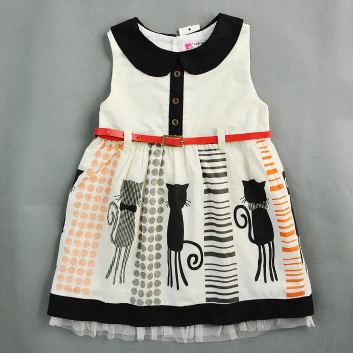 cute resale baby girls dress customes kids clothes toddler children clothing cat belt roupas infantil meninas infantis disfraces(China (Mainland))