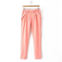 2015 Spring Cheapest Women Harem Pants Pockets Zipper Long Trouser Leisure Wear All-Match Casual Long Pants EF107