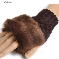 fashion Cute Faux Rabbit Fur Hand Winter Warmer Knitted Fingerless Gloves Mitten mixed color for wholesale price