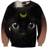 Sws0119  New Arrivai Europe Hot Digital Printing Black Cat O-Neck Pullover Hoodies Sweatshirts 3D