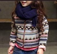 2015 new spring autumn European style girls flower National Wind O-neck jacket toddler girl striped coats cardigan outwear