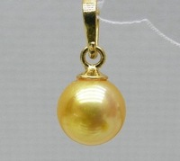 10-11 mm AAA+++ perfect round golden yellow south sea pearl pendant 14k gold