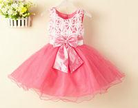 2015 newest princess dress children dress lace dress flower girl dress bow free shipping