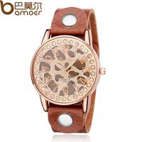 BAMOER Vintage Brown Cow Leather Band Dress Watch with Rhinestone for Women Quartz Fashion Simple Female Wristwatch PI0564
