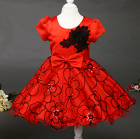 Flower girls dresses 2015 new high-end three-dimensional embroidery princess dress red short-sleeved red free shipping