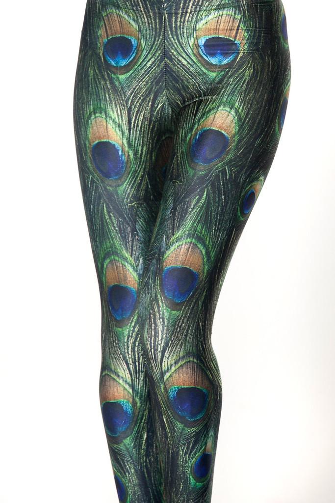 A penas de pavão verde mulheres leggings de fitness primavera e verão treino calça esporte impressão plus size senhoras calças finas fundos(China (Mainland))