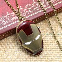 New Bronze Color Pocket Watch Iron Man Necklace Pendant Watch Reloj De Bolsillo P500