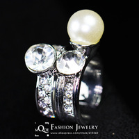 QMODE High Quality Fashion Simulated Big Pearl Ring New Type Women 10KP Double Pearl Rings Accessories Jewelry