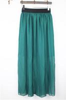 Summer new bohemian mop black elastic waist chiffon women skirts