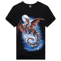 Men Fashion Pterosaur Pattern Cool t-shirt Tee Short Sleeve Shirt Tee