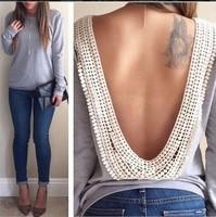 sexy v back women crop top blusas femininas t shirt women backless t shirt sexy long sleeve woman clothes roupas femininas A1132