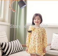 2015 New Spring Fashion Children Clothing Print Flower Bow Cotton Girls Dress Full Princess Ruffles Dresses Baby Clothes