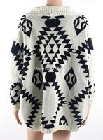 Best Selling Women Ladies Retro Vintage Long Sleeve Cardigan Geometric Pattern Knitted Sweater Knitwear Tops