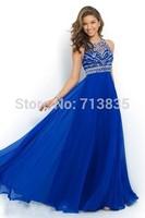 Elegant Royal Blue Chiffon A-Line Prom Dress 2015 Halter Bandage Backless Sparkly Beading Long Prom Dresses New Arrival