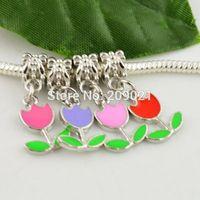 DIY  Roses 100pcs Mixed Color Enamel Dangle Charm European Beads Jewelry making