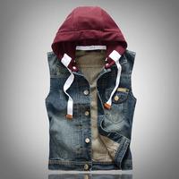 Men's casual detachable hooded denim vest Male slim vintage dark blue coat Free shipping