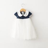 2015 New Girls Cotton Plaid Summer Dresses  Kids Elegant Brand Mesh Dress Blue Pink Green 6 pcs/lot