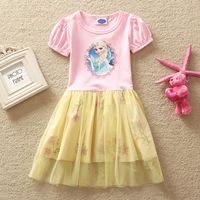 The new children's wear ice romance sweet gauze  cotton short sleeved dress D0533 Korean Princess