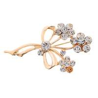 Three Flower Decoration Bouquet Brooch 18K rose glod Women's Wedding Jewelry High Quality Pin Corsage For women