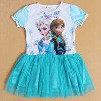 2014 new summer children Forzen ice romance girl cartoon gauze Princess Dress