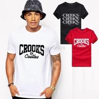 Crooks And Castles T Shirts Men Cotton O Neck Man T-Shirt Hip Hop Mens tshirt Euro Size Tops Shirt Free Shipping