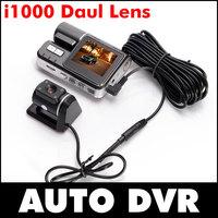 Full HD 1080P Dual Lens Car DVR Dual Camera Car Video Recorder Blackbox Dash Cam Night Vision 140 View Dual Lens Camcorder i1000