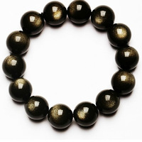 2015 Free shipping Natural 8-16MM Genuine Class 5A Obsidian bracelet golden cat eye black authentic lucky gem beads not dyed