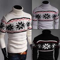 Spring 2015 Men's Casual turtleneck pullover men Geometric Pattern UW304  Black and White