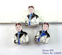 50pcs 8mm Hans Zinc alloy slide charm can come through 8mm band fit wristband pet collar and key chain