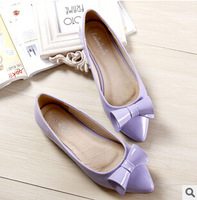 Large size 34-43 2015 Spring&autumn Women's single shoes flats Bow pointed shoes causal shoes fashion sneakers1265