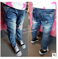 Free shipping - han edition of private child baby edge grinding hole joker jeans trousers
