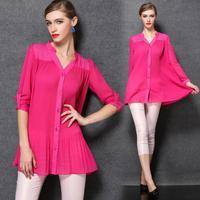 XL-4XL Brand 2015 Spring Summer Loose Women Shirts Blusas Femininas Ladies Roll up Long Sleeve Plus Size XXXL Chiffion Blouse