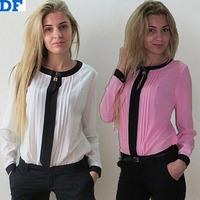 Casual Chiffon T-Shirt Candy Colors Blusas Femininas 2015 Plus Size Women Tops OL T-Shirt Pleated Women Clothing Factory Sale