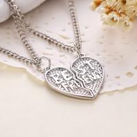 Hot Sale Best Friends Letters Broken Heart Pendant Necklace Silver Clavicle Chain