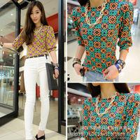 Spring 2015 Women Blouse Shirt Geometric Printed Short Sleeve Chiffon Shirt Brand Casual Tops Plus Size Blouse