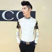 Fashionable men's casual long-sleeved shirt Slim collar shirt bottoming small floral iron shirt. Free Shipping