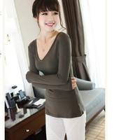 2015 new fashion spring blouse v-neck full sleeve women casual shirt