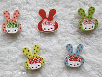 Cartoon Polka Kitty cat wood button  22x25 mm  diy sewing